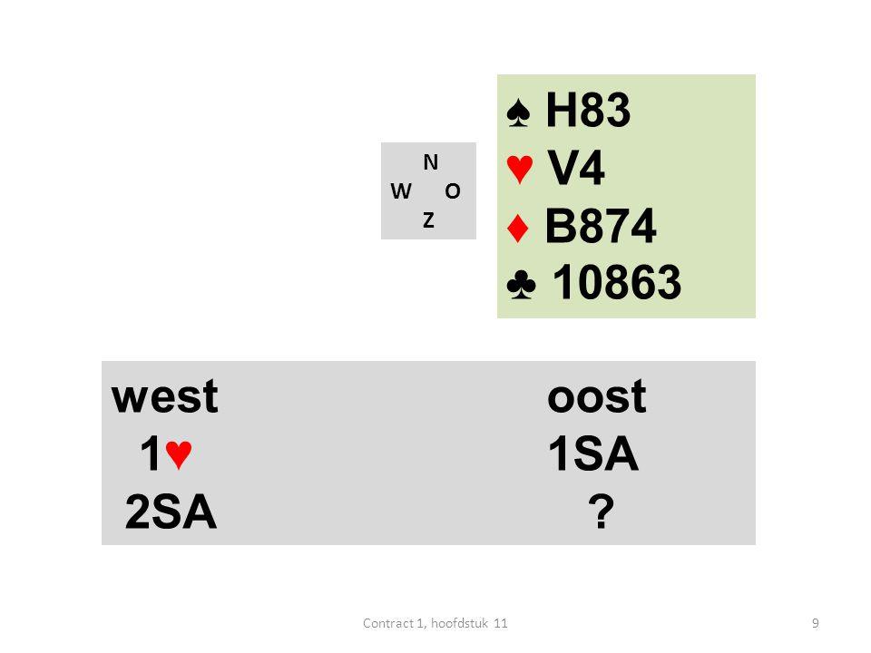 ♠ H83 ♥ V4 ♦ B874 ♣ 10863 west oost 1♥ 1SA 2SA N W O Z