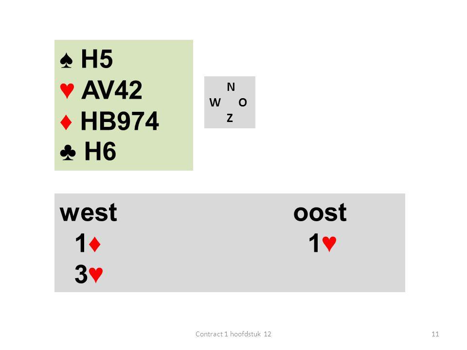 ♠ H5 ♥ AV42 ♦ HB974 ♣ H6 west oost 1♦ 1♥ 3♥ N W O Z