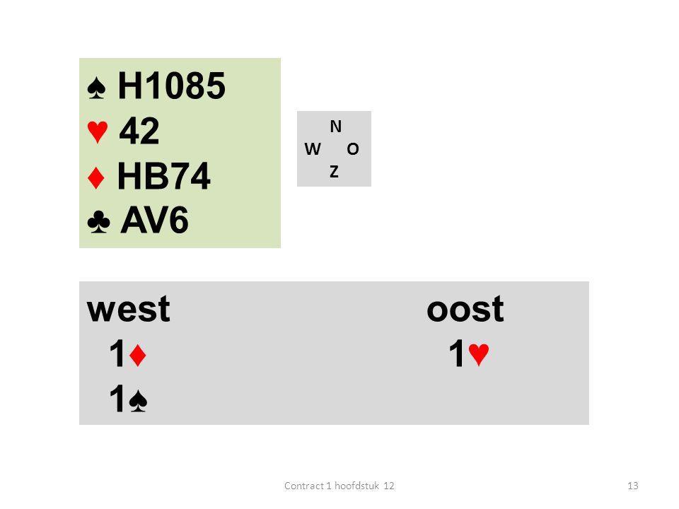 ♠ H1085 ♥ 42 ♦ HB74 ♣ AV6 west oost 1♦ 1♥ 1♠ N W O Z