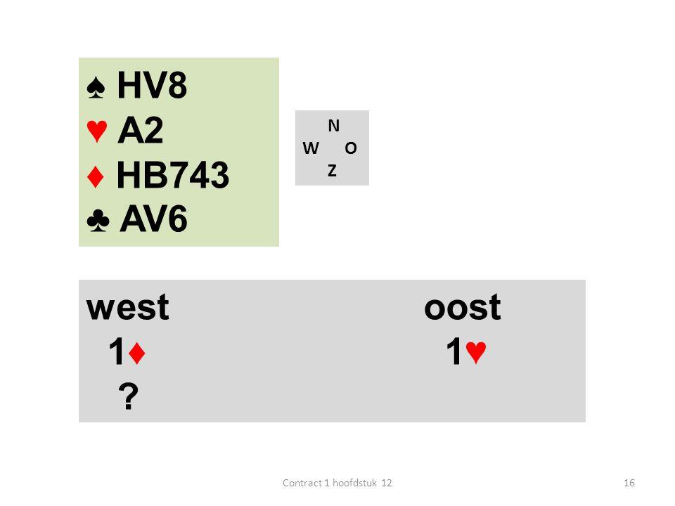 ♠ HV8 ♥ A2 ♦ HB743 ♣ AV6 west oost 1♦ 1♥ N W O Z