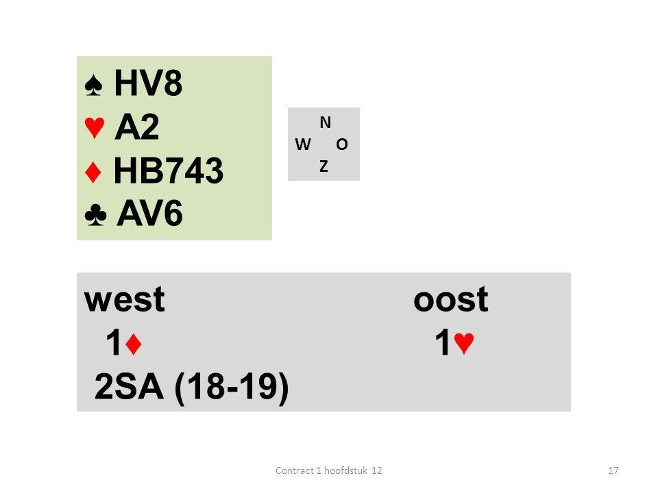 ♠ HV8 ♥ A2 ♦ HB743 ♣ AV6 west oost 1♦ 1♥ 2SA (18-19) N W O Z