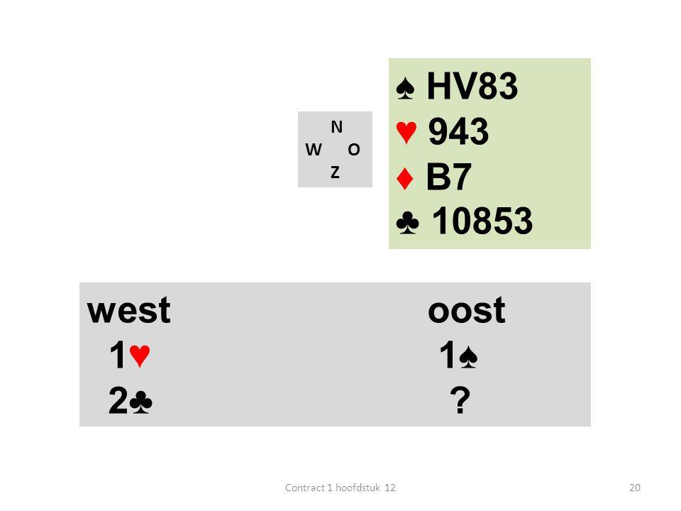 ♠ HV83 ♥ 943 ♦ B7 ♣ 10853 west oost 1♥ 1♠ 2♣ N W O Z