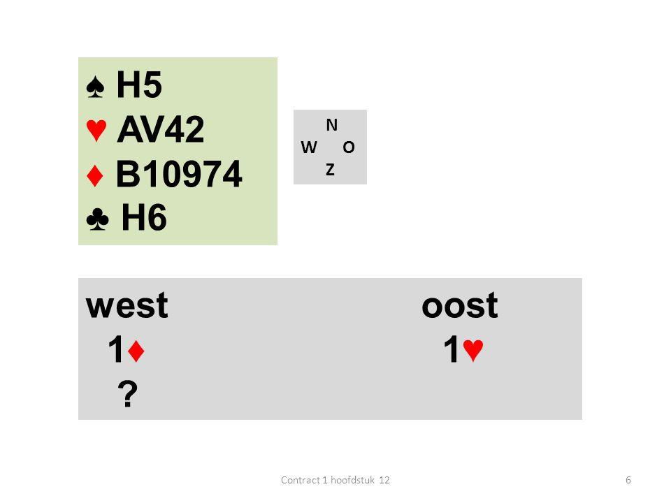 ♠ H5 ♥ AV42 ♦ B10974 ♣ H6 west oost 1♦ 1♥ N W O Z