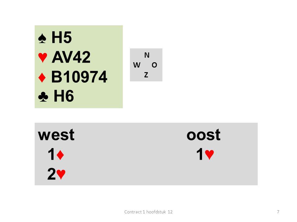 ♠ H5 ♥ AV42 ♦ B10974 ♣ H6 west oost 1♦ 1♥ 2♥ N W O Z