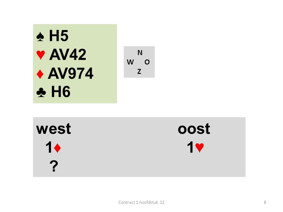 ♠ H5 ♥ AV42 ♦ AV974 ♣ H6 west oost 1♦ 1♥ N W O Z