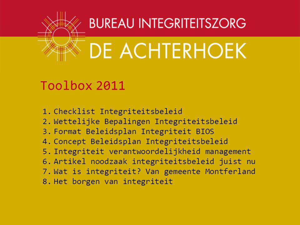 Toolbox 2011 Checklist Integriteitsbeleid