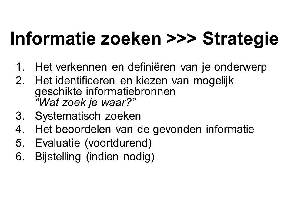 Informatie zoeken >>> Strategie