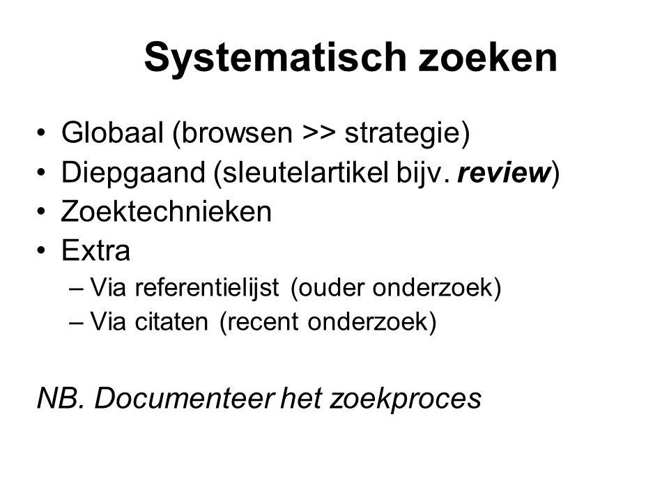 Systematisch zoeken Globaal (browsen >> strategie)