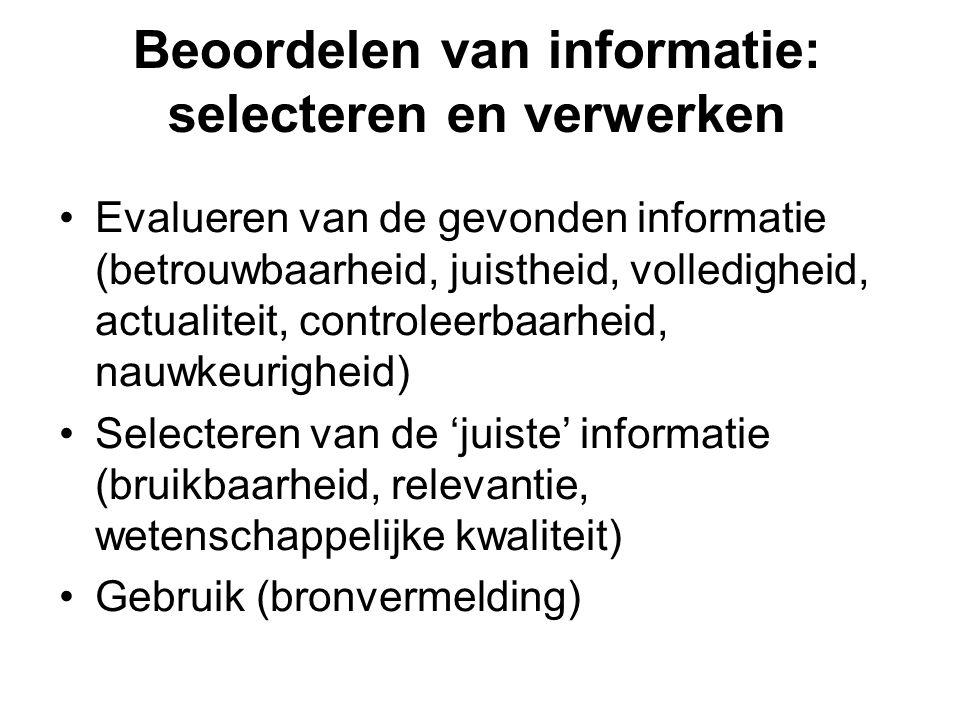 Beoordelen van informatie: selecteren en verwerken