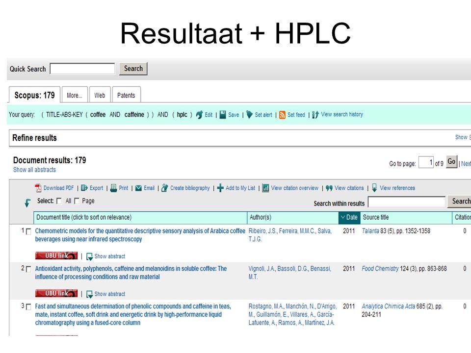 Resultaat + HPLC