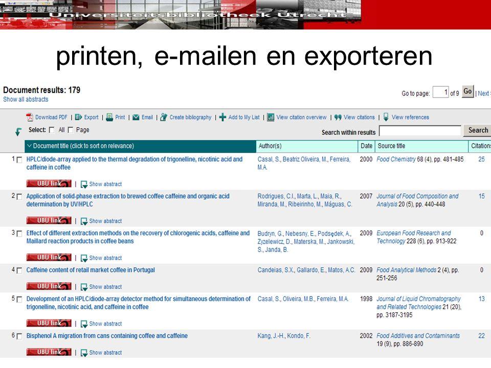 printen, e-mailen en exporteren