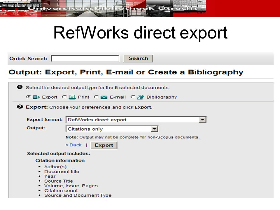 RefWorks direct export