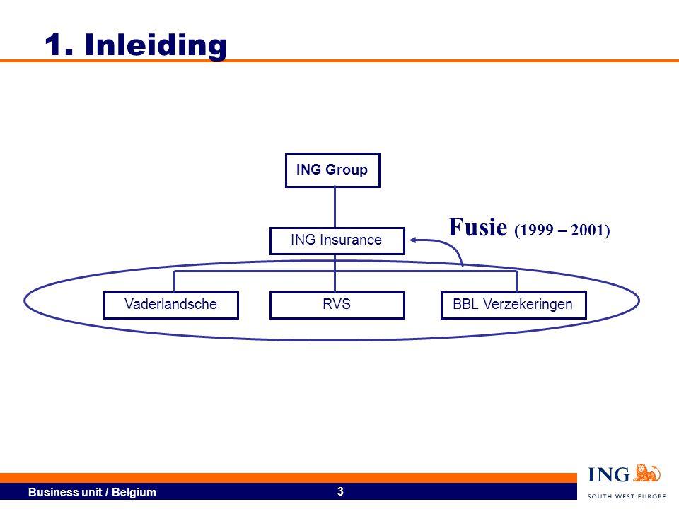 1. Inleiding Fusie (1999 – 2001) ING Group ING Insurance Vaderlandsche