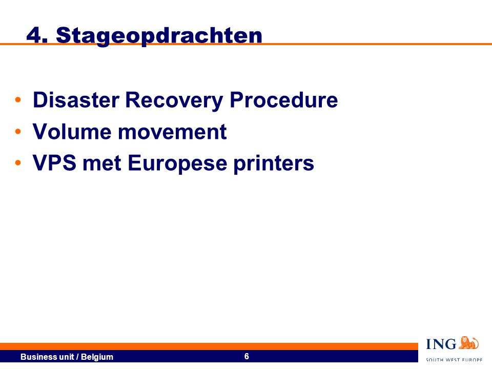 4. Stageopdrachten Disaster Recovery Procedure Volume movement VPS met Europese printers