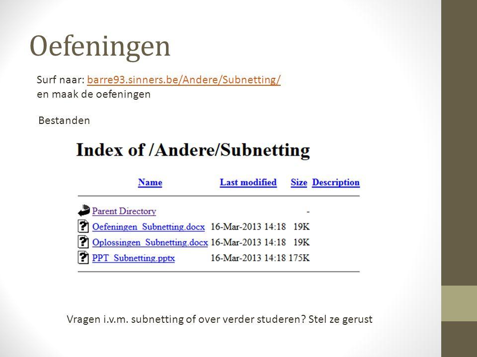 Oefeningen Surf naar: barre93.sinners.be/Andere/Subnetting/