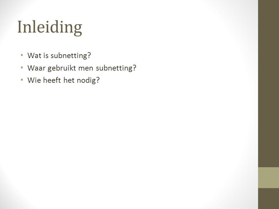 Inleiding Wat is subnetting Waar gebruikt men subnetting