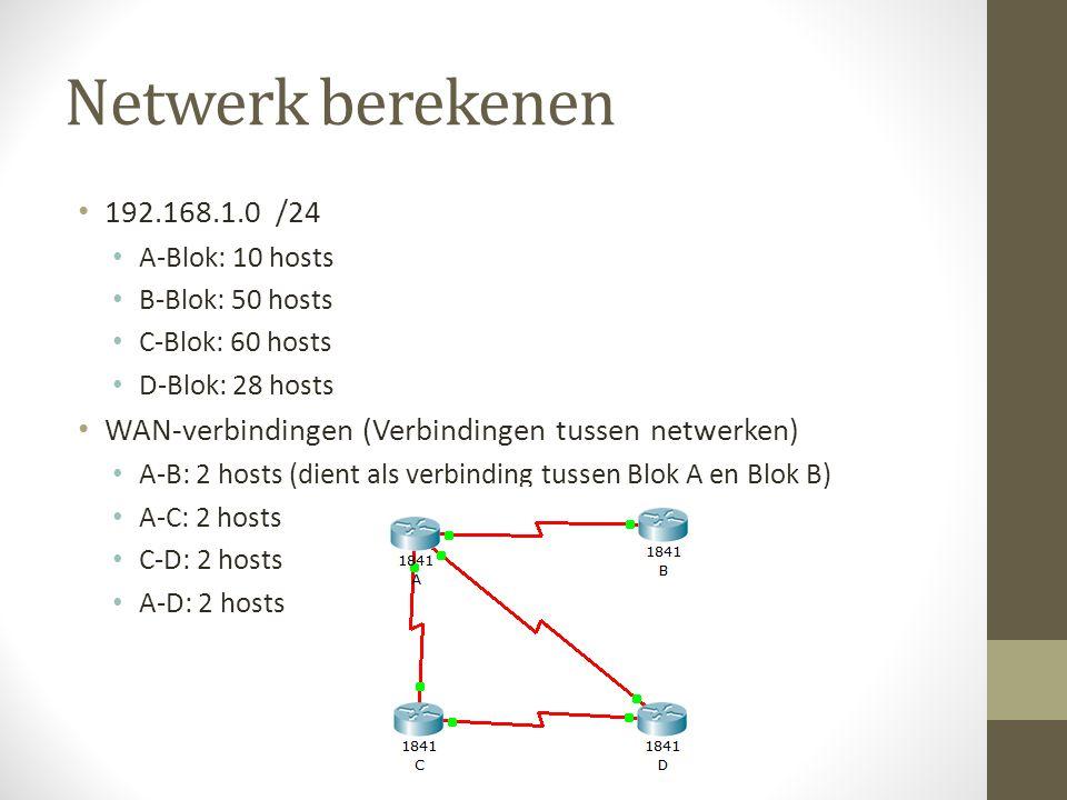 Netwerk berekenen 192.168.1.0 /24. A-Blok: 10 hosts. B-Blok: 50 hosts. C-Blok: 60 hosts. D-Blok: 28 hosts.