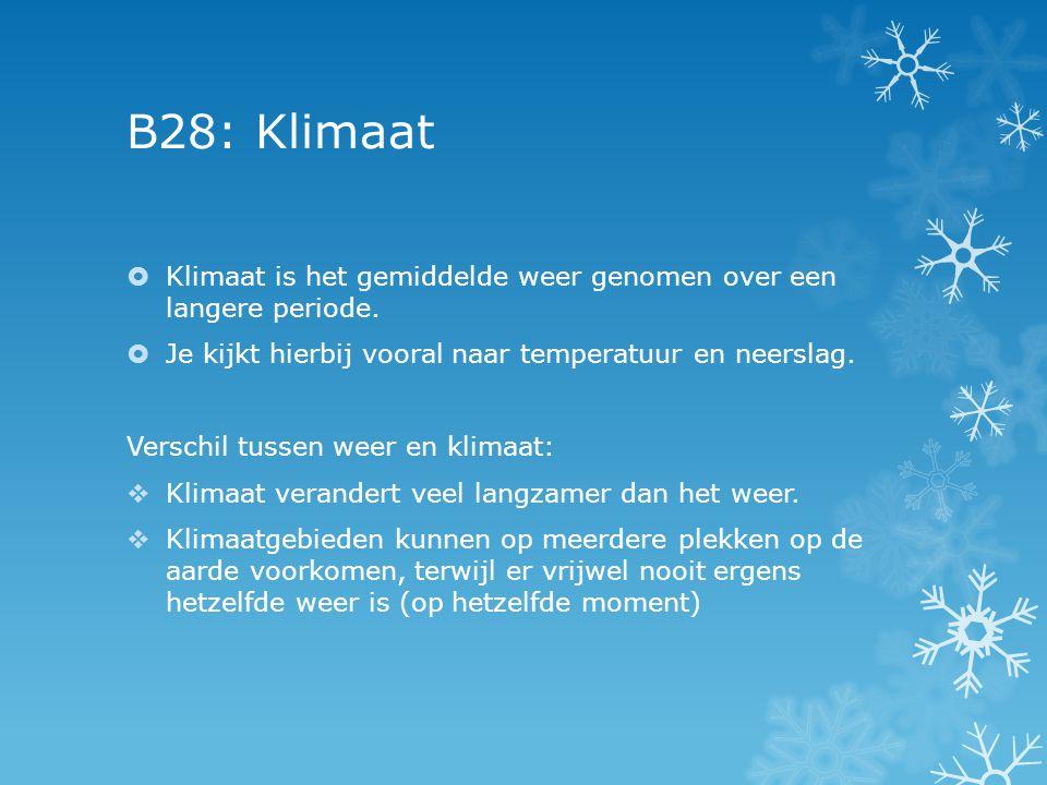 B28: Klimaat Klimaat is het gemiddelde weer genomen over een langere periode. Je kijkt hierbij vooral naar temperatuur en neerslag.
