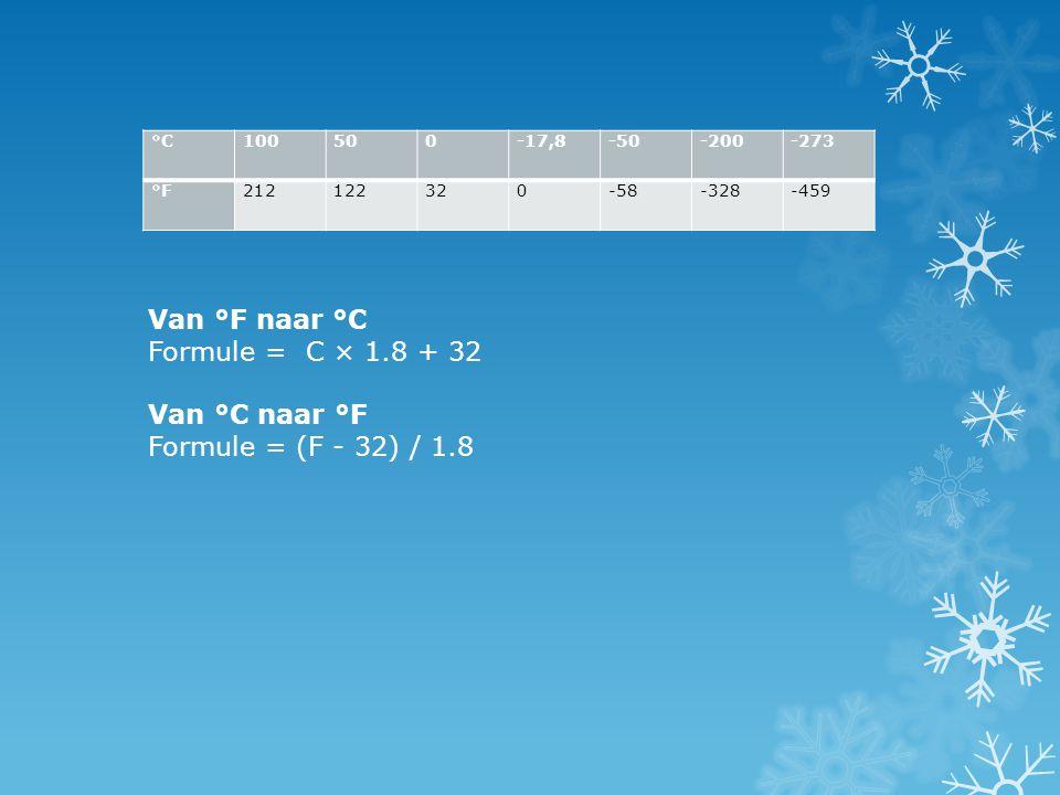 Van °F naar °C Formule = C × 1.8 + 32 Van °C naar °F