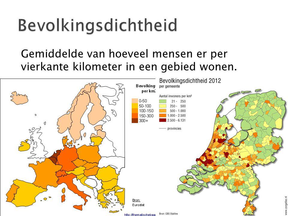 Bevolkingsdichtheid Gemiddelde van hoeveel mensen er per vierkante kilometer in een gebied wonen.