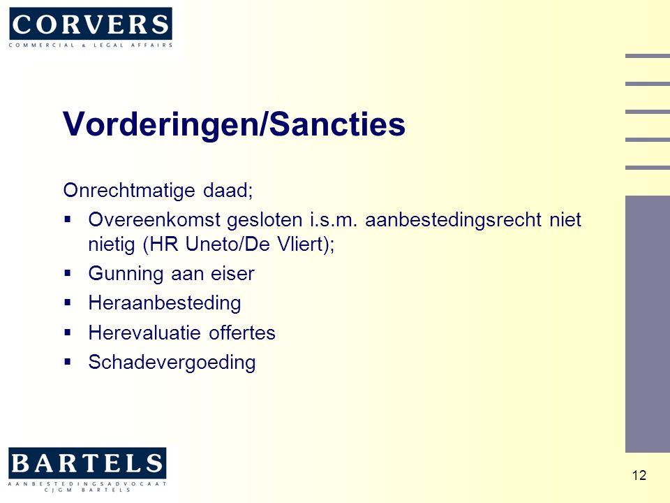 Vorderingen/Sancties