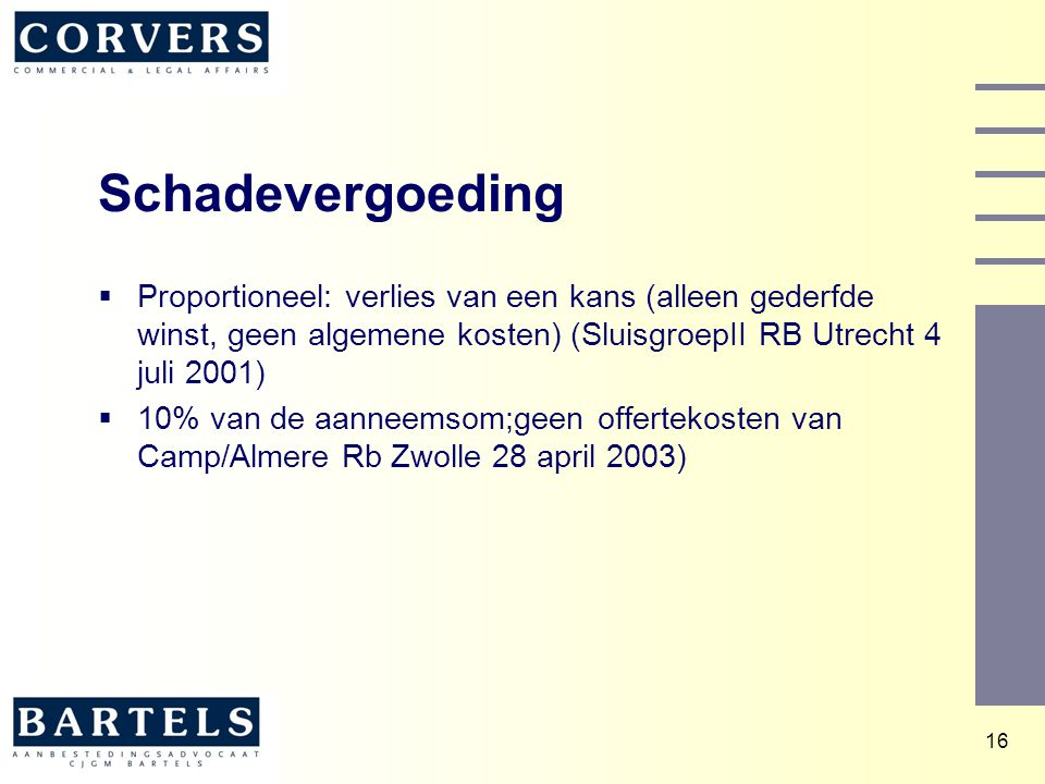 Schadevergoeding Proportioneel: verlies van een kans (alleen gederfde winst, geen algemene kosten) (SluisgroepII RB Utrecht 4 juli 2001)