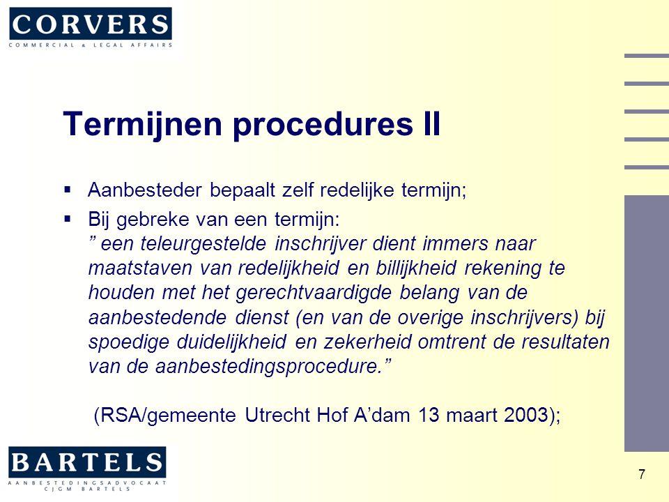 Termijnen procedures II