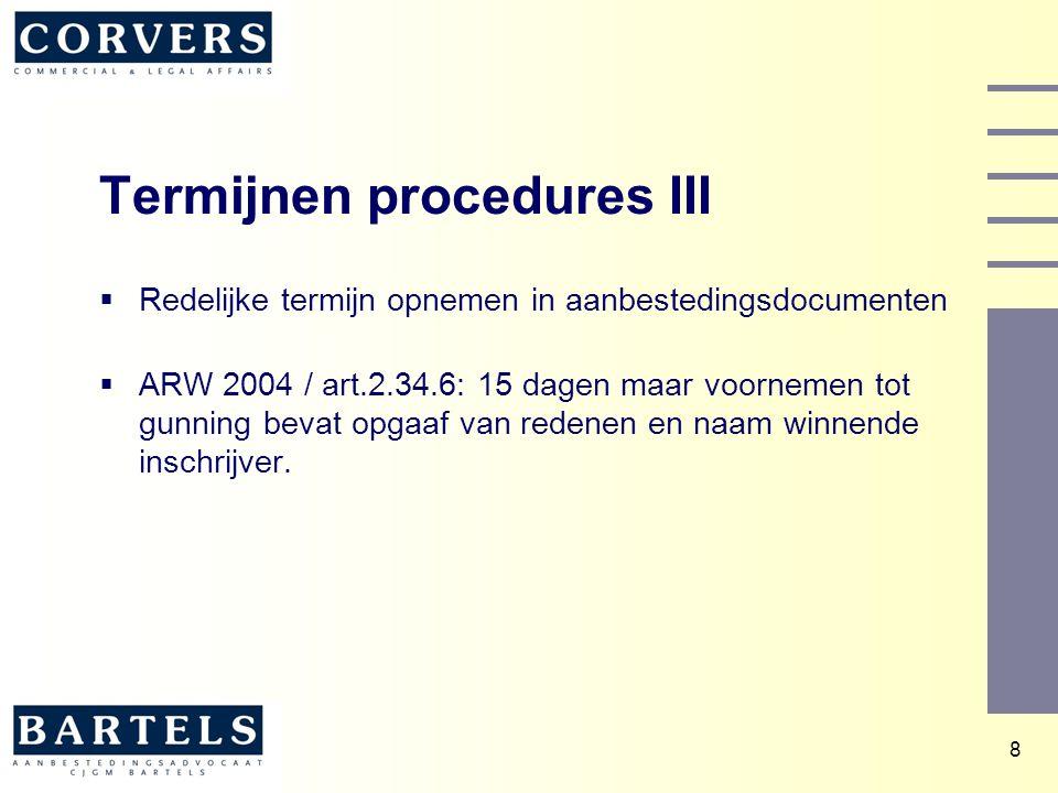 Termijnen procedures III