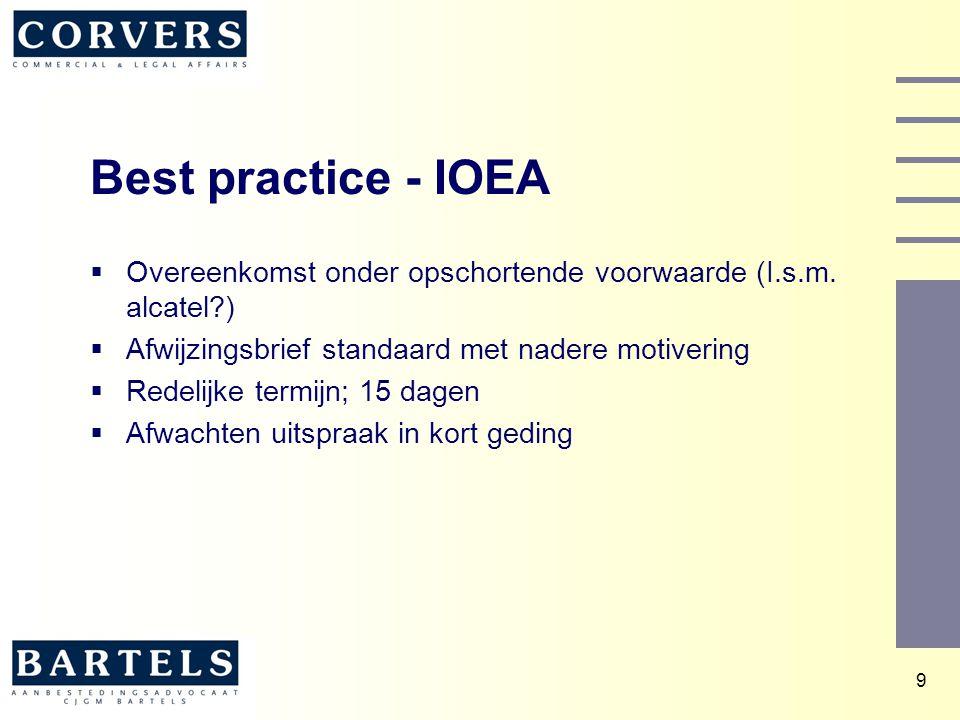 Best practice - IOEA Overeenkomst onder opschortende voorwaarde (I.s.m. alcatel ) Afwijzingsbrief standaard met nadere motivering.