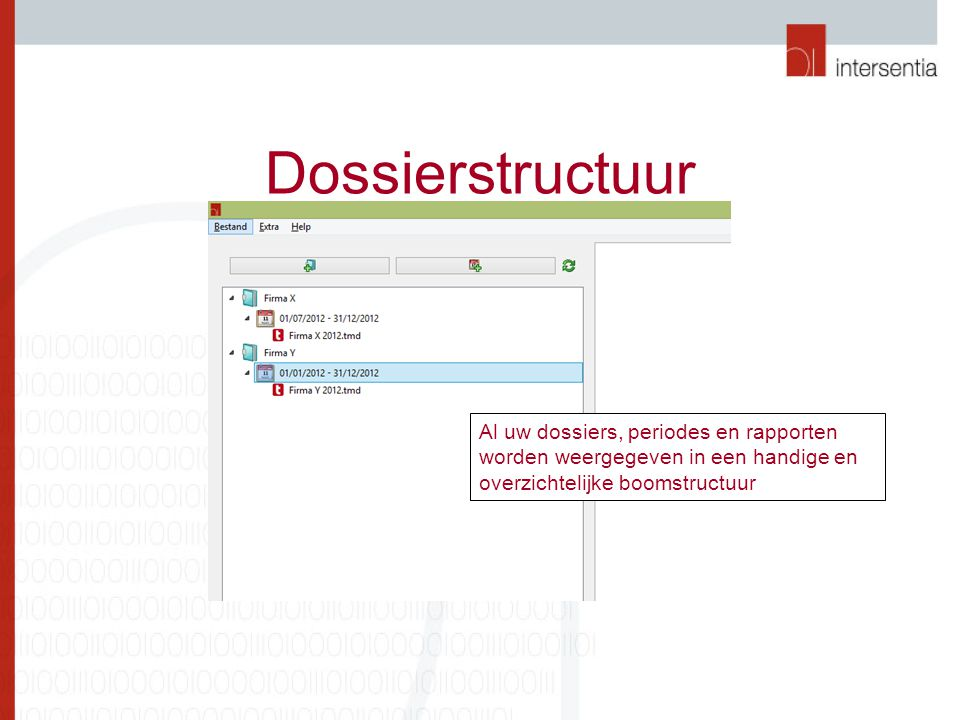 Dossierstructuur Al uw dossiers, periodes en rapporten worden weergegeven in een handige en overzichtelijke boomstructuur.