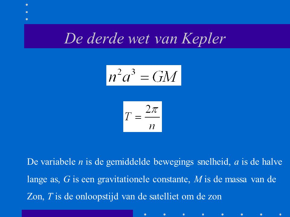 De derde wet van Kepler De variabele n is de gemiddelde bewegings snelheid, a is de halve.