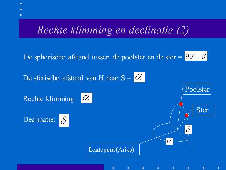 Rechte klimming en declinatie (2)
