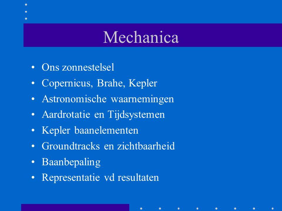 Mechanica Ons zonnestelsel Copernicus, Brahe, Kepler