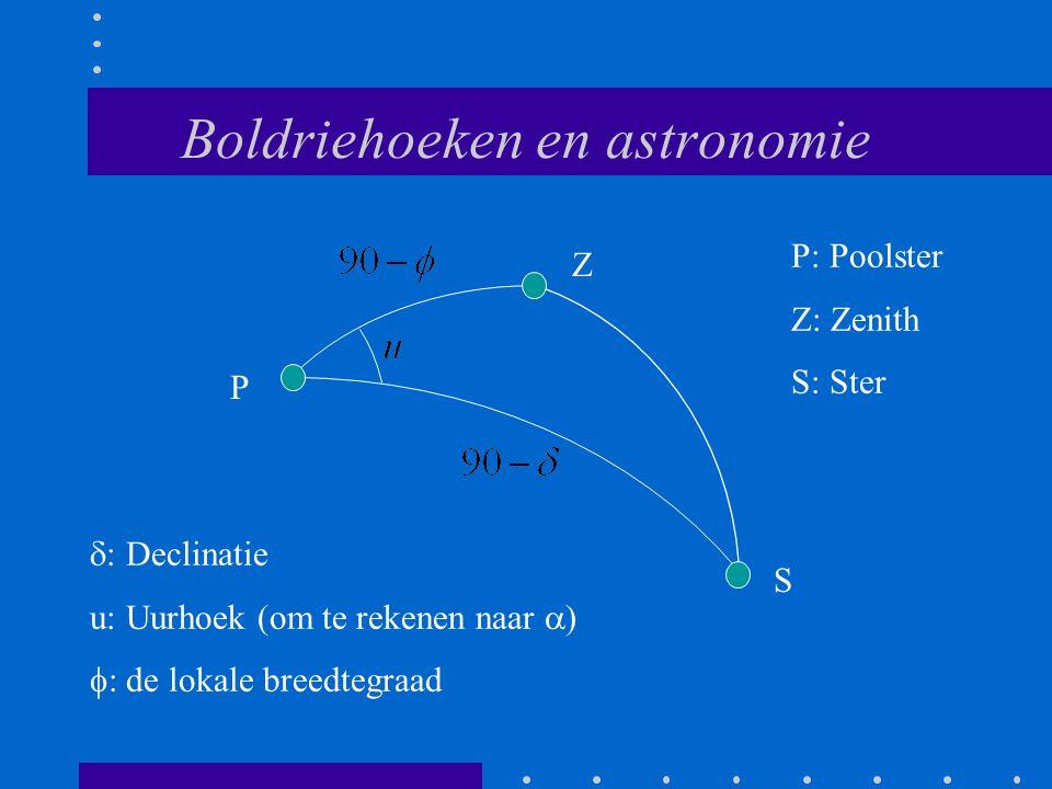 Boldriehoeken en astronomie