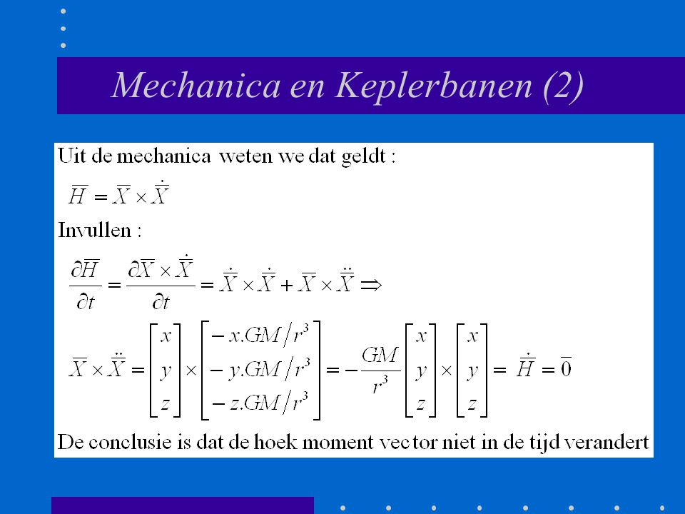 Mechanica en Keplerbanen (2)