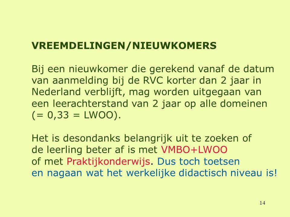 VREEMDELINGEN/NIEUWKOMERS Bij een nieuwkomer die gerekend vanaf de datum van aanmelding bij de RVC korter dan 2 jaar in Nederland verblijft, mag worden uitgegaan van een leerachterstand van 2 jaar op alle domeinen (= 0,33 = LWOO).
