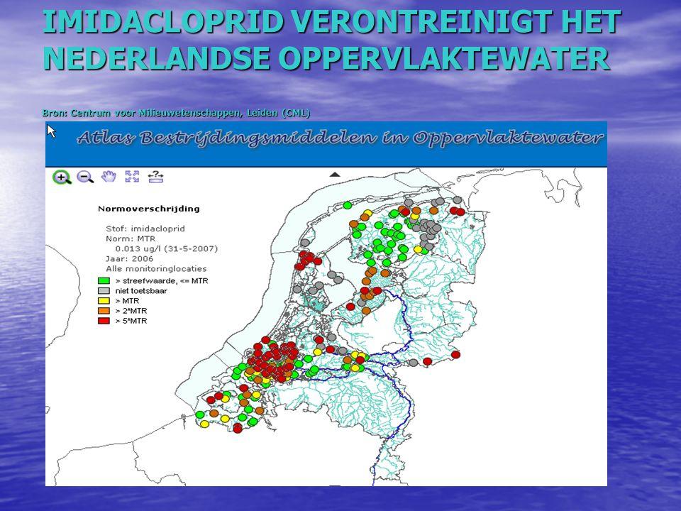 IMIDACLOPRID VERONTREINIGT HET NEDERLANDSE OPPERVLAKTEWATER Bron: Centrum voor Milieuwetenschappen, Leiden (CML)