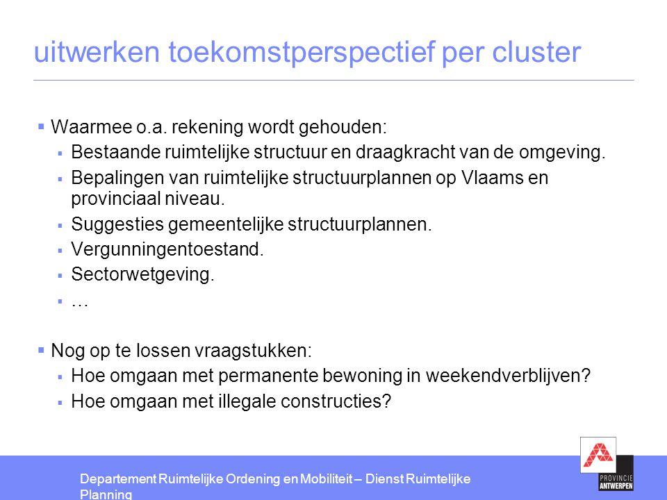 uitwerken toekomstperspectief per cluster