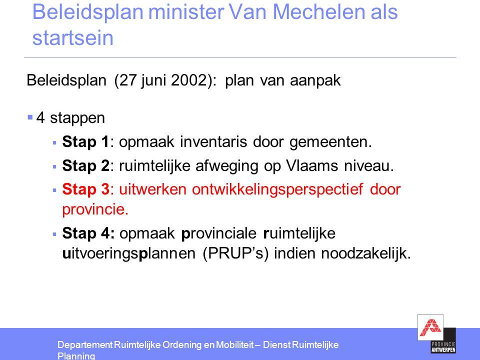 Beleidsplan minister Van Mechelen als startsein