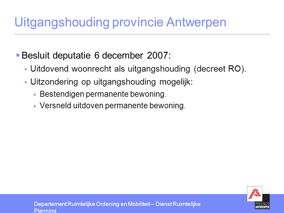 Uitgangshouding provincie Antwerpen