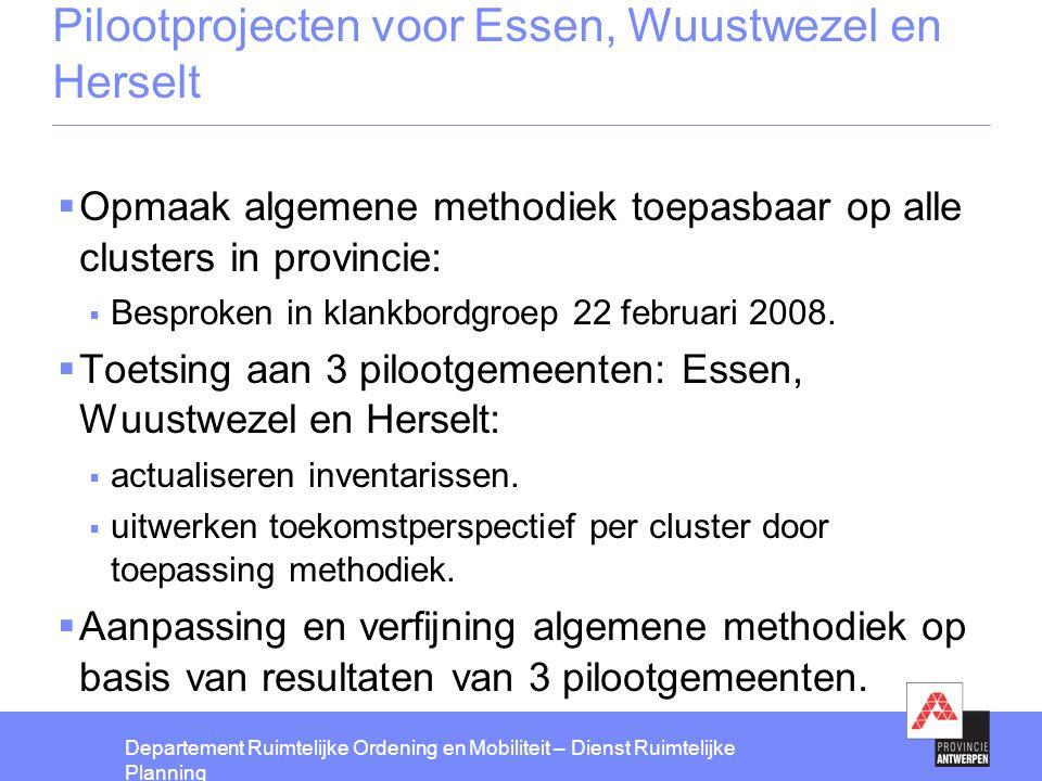 Pilootprojecten voor Essen, Wuustwezel en Herselt
