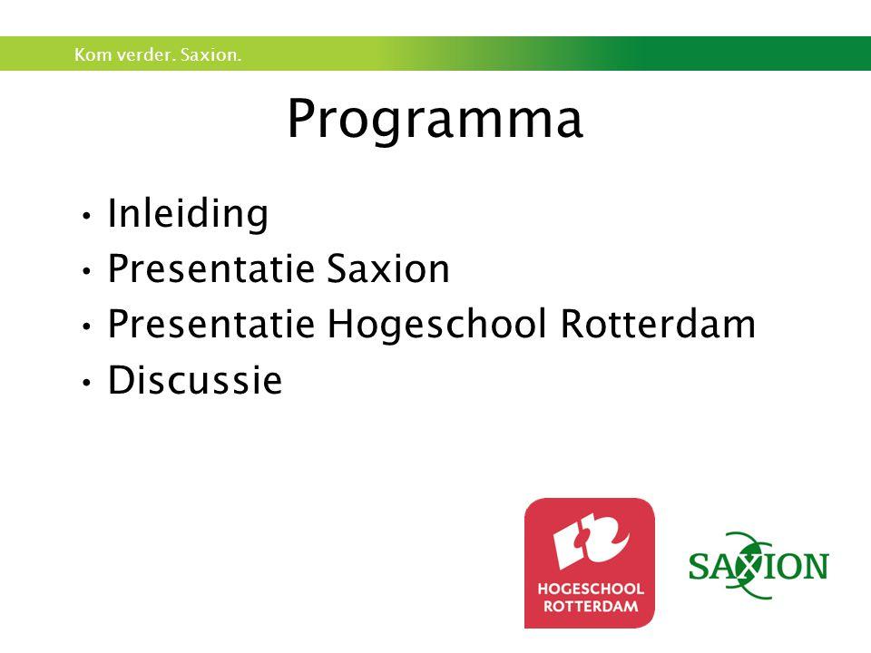 Programma Inleiding Presentatie Saxion