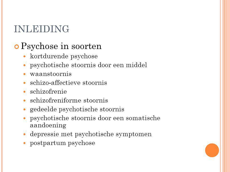 INLEIDING Psychose in soorten kortdurende psychose