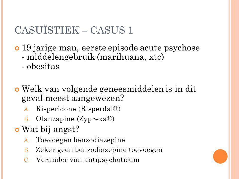 CASUÏSTIEK – CASUS 1 19 jarige man, eerste episode acute psychose - middelengebruik (marihuana, xtc) - obesitas.