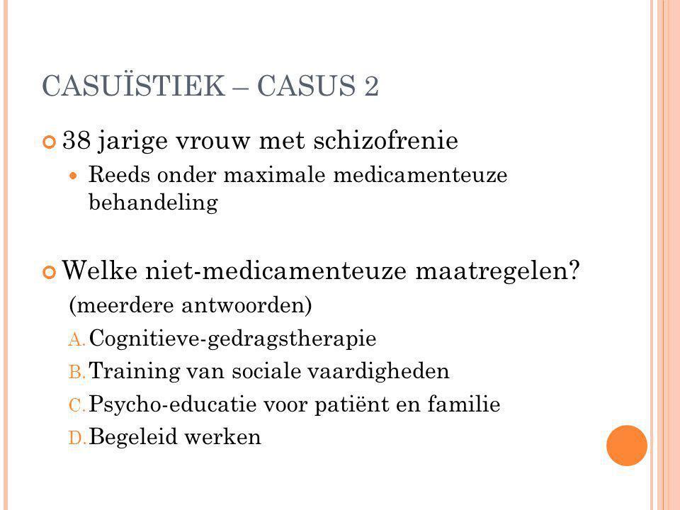 CASUÏSTIEK – CASUS 2 38 jarige vrouw met schizofrenie
