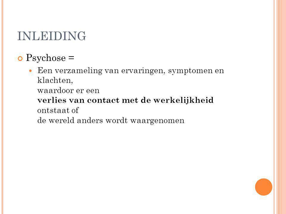 INLEIDING Psychose =
