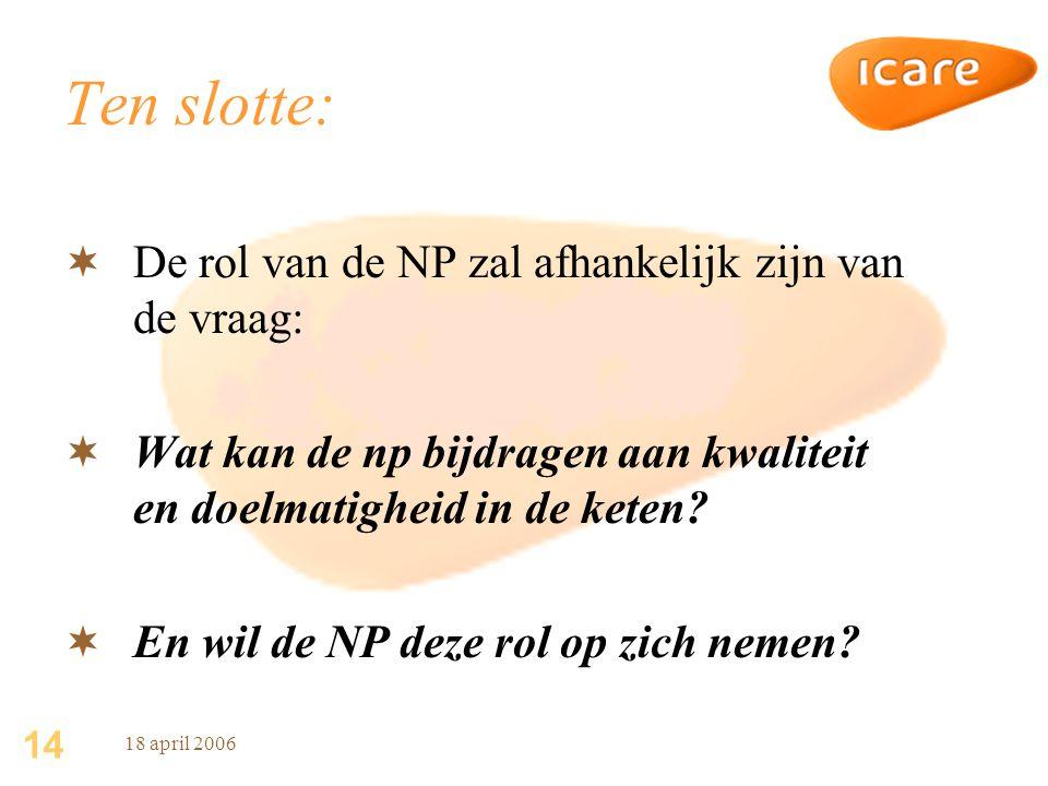 Ten slotte: De rol van de NP zal afhankelijk zijn van de vraag: