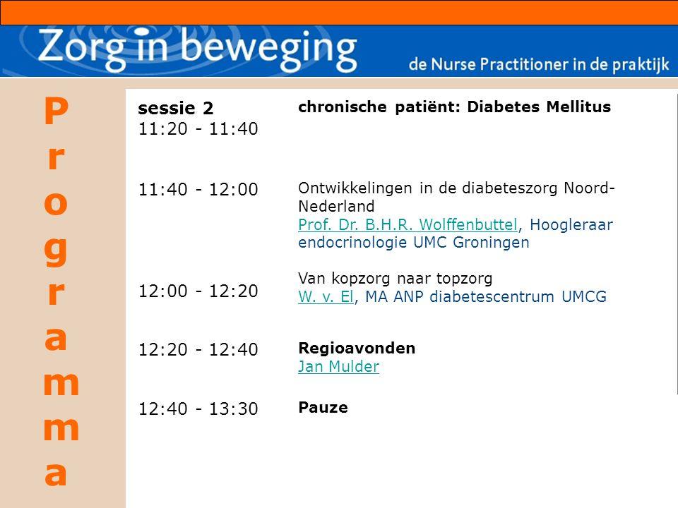 sessie 2 11:20 - 11:40. 11:40 - 12:00. 12:00 - 12:20. chronische patiënt: Diabetes Mellitus.