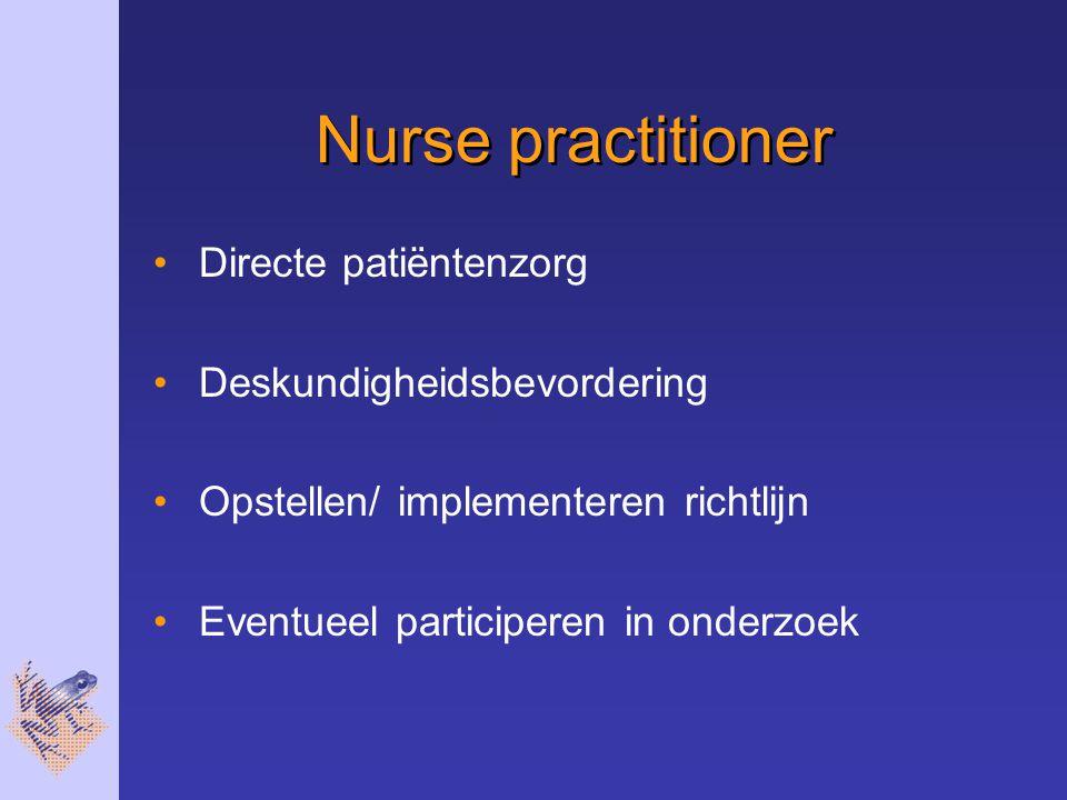 Nurse practitioner Directe patiëntenzorg Deskundigheidsbevordering
