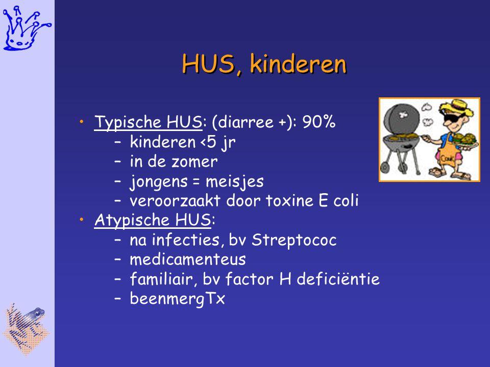 HUS, kinderen Typische HUS: (diarree +): 90% kinderen <5 jr